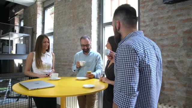 Business team on the coffee break video