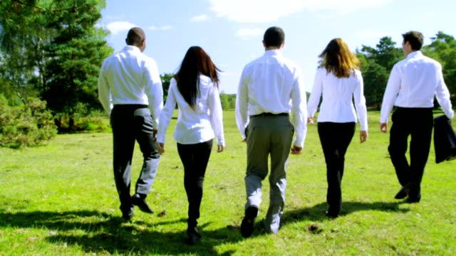 Business team walking outside video