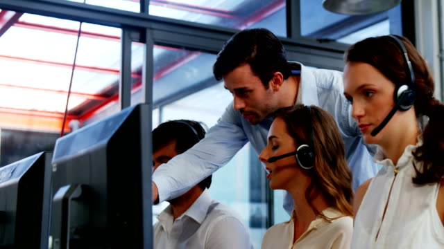 Business team working at the call centre video