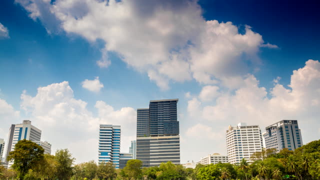 Business tower with cloud and blue sky video