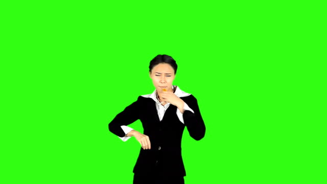 Business Woman Blowing A Whistle And Showing Red Card video