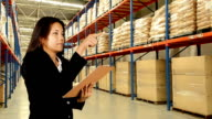 Business Woman Checking Inventory In Warehouse video