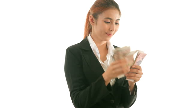 Business woman counting money isolated video