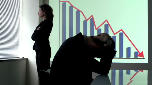 Business woman disappointed with company's deficit video
