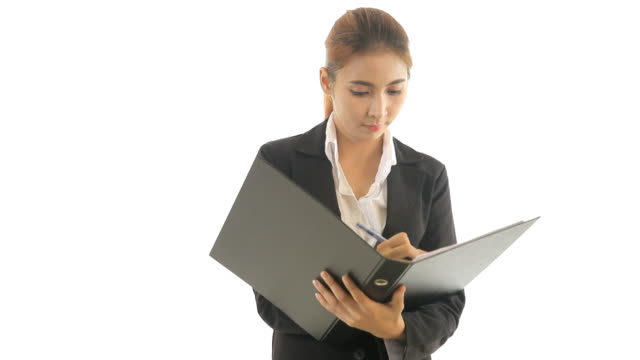 Business woman holding document video