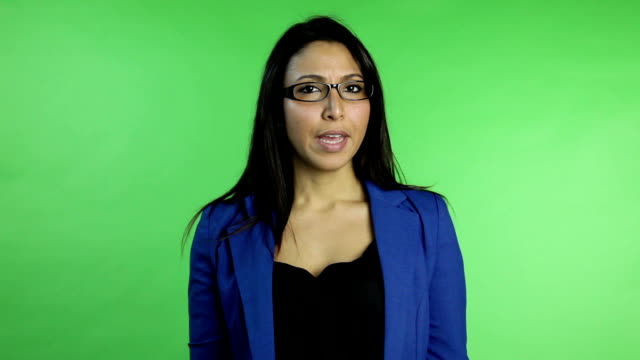 business woman isolated on green screen video