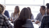 Business woman leading a meeting with her colleagues video