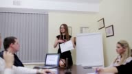 Business woman presenting chart video