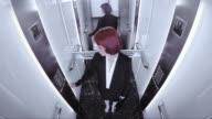 POV Business woman riding in the elevator video