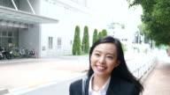 business woman running video