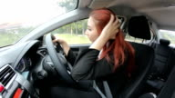 business woman sleep in car driver video