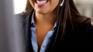 Business woman talking with headset video