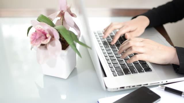 Business woman typing keyboard video