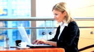 Business woman typing on a laptop. video