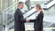 DS Business woman welcoming her male colleague in the hallway video