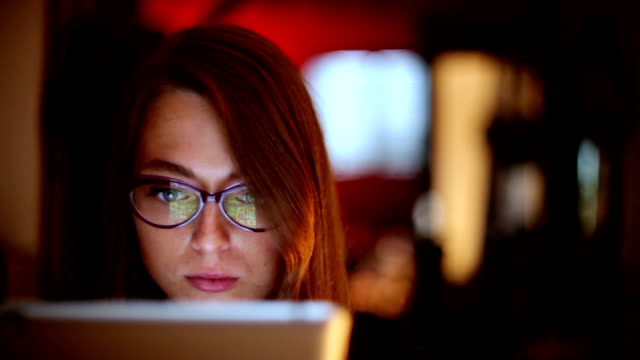 Business Woman With Glasses Using Tablet video
