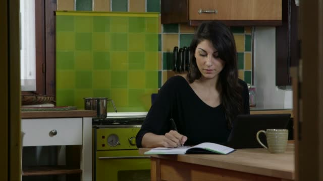 Business Woman Working At Home With Laptop Pc And Smartphone video