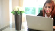 Business young woman with laptop video