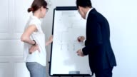 Businessman and businesswoman talk about business plan diagram video