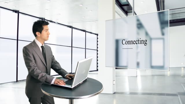 Businessman and global connections video