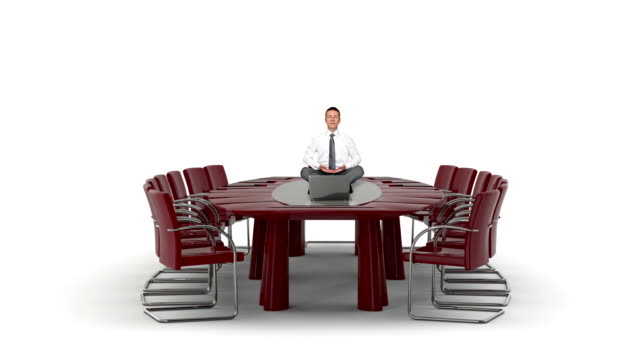 Businessman and Laptop on Office Table Meditating, against white video