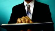 businessman click tablet video