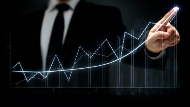Businessman drawing an ascending financial chart. Touchscreen. Business success. Blue/green. video