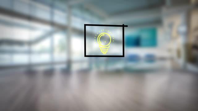Businessman drawing business flowchart video