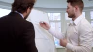 Businessman draws on the flip chart video