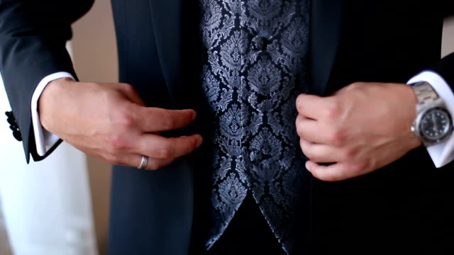 Businessman Dressing Up a Black Suit video