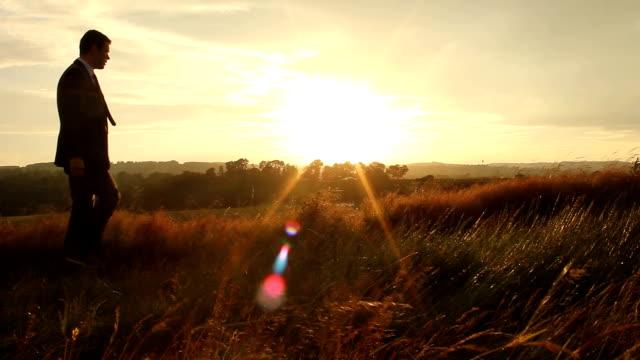 Businessman enjoying a golden sunset video