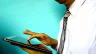 businessman hand click tablet video