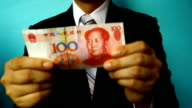 businessman hold china money video