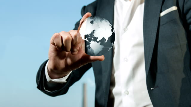 Businessman Holds Earth Globe   4K video