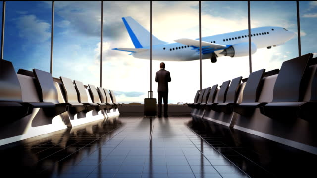 Businessman in flight waiting hall. Departure airplane in blue sky. video