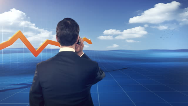 Businessman in front of a 3D financial graph, stylized outdoor video