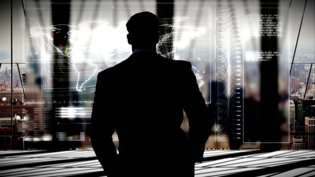 businessman in office with futuristic city background video