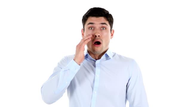 Businessman in Shock, White Background video