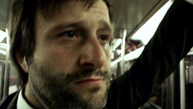 HD: Businessman In The Subway Train video