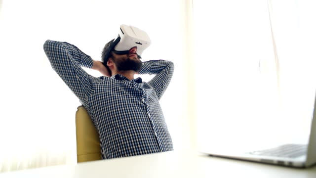 businessman in virtual reality glasses video