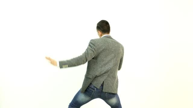 4K Businessman is dancing. video