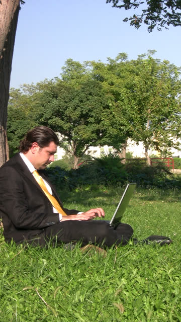 Businessman is working outdoors video