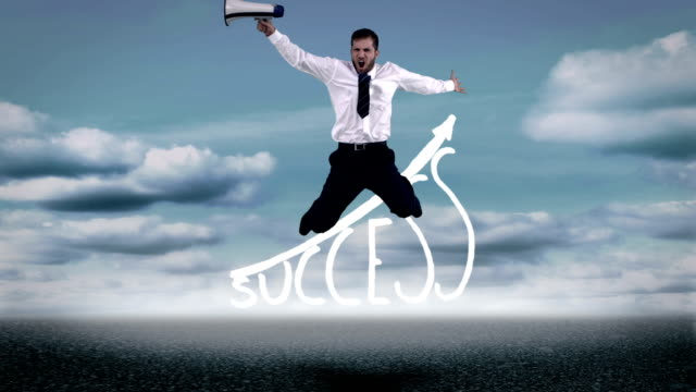 Businessman jumping over success graphic video