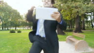 HD SLOW MOTION: Businessman Jumping With Joy video