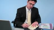 Businessman, laptop video