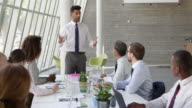 Businessman Leading Meeting At Boardroom Table Shot On R3D video