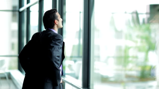 Businessman looking out the window video