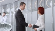 DS Businessman meeting with woman in corporate hallway video