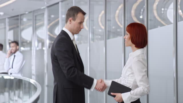 DS Businessman meeting with a female collegue in corporate hallway video