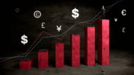 Businessman on increase bar graph with money sign and arrow, rising market video
